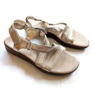AEROSOLES Warm Front Gold leather Strappy Sandals